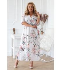 Biało-Kremowa (perłowa) sukienka maxi w kwiaty z kopertowym dekoltem - ADELA