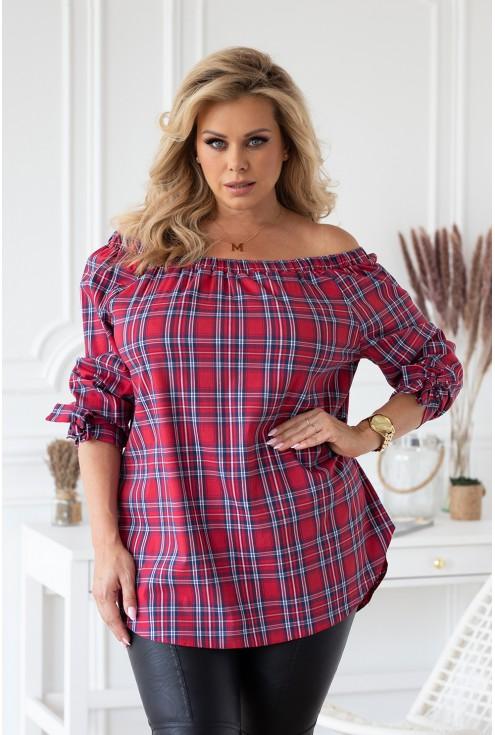 czerwona bluzka hiszpanka w kratę duże rozmiary damskie xxl sklep XL-ka.pl