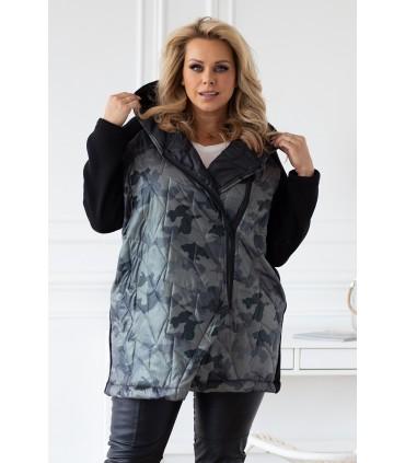 Czarna bluza-kurtka z kapturem - wzór moro - SISSY