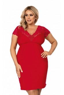 Czerwona koszulka nocna z koronką na dekolcie - TESSY