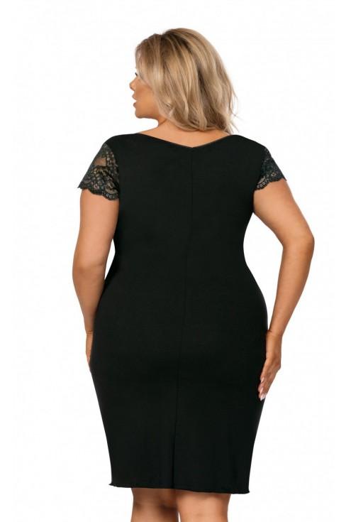 Czarna koszulka nocna z koronką na dekolcie - TESSY