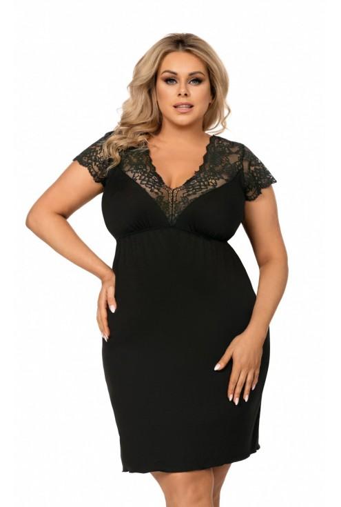 czarna koszulka nocna xxl plus size