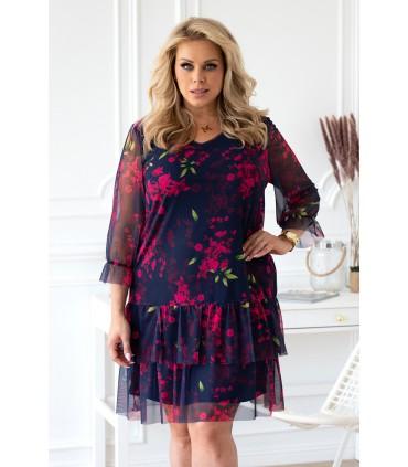 Granatowa sukienka/tunika z kwiatowym wzorem - NAOMI