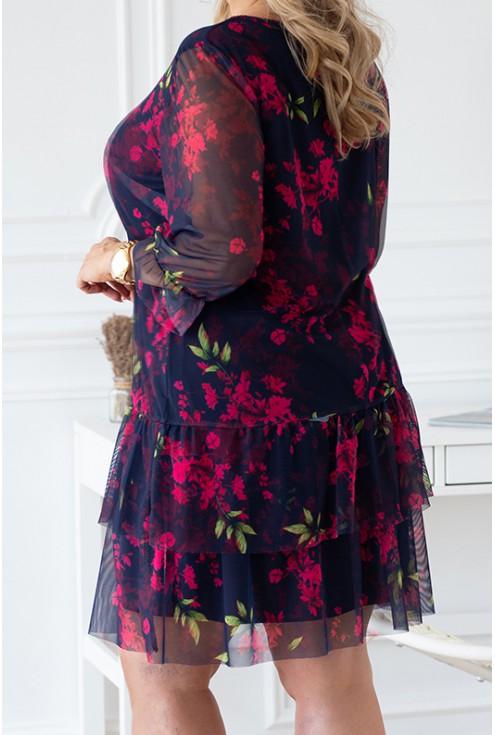 bok granatowej modnej sukienki plus size dla kobiet