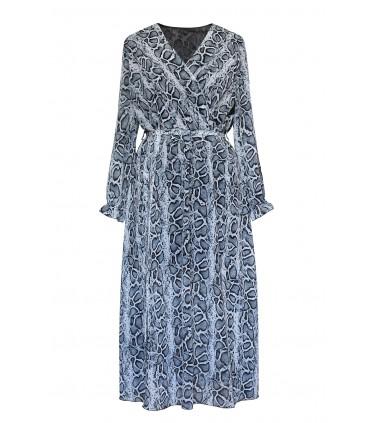 Jasna sukienka maxi z wzorem w skórę węża - BETH