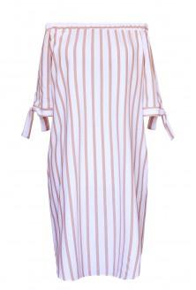 Biało-cappucine sukienka hiszpanka
