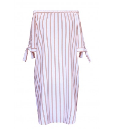 Biała sukienka hiszpanka w paski beż/cappucino - REGINE