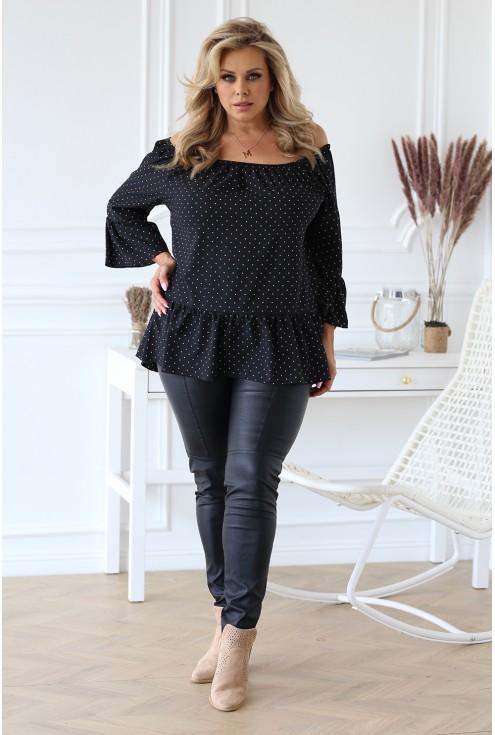 Czarna bluzka hiszpanka w groszki - FIORELLE
