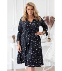 Czarna sukienka z wiązaniem przy rękawach - wzór w groszki- AGATHE