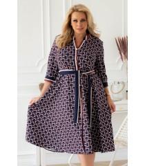 Brązowo-granatowa sukienka z wzorem w paski - POLLY