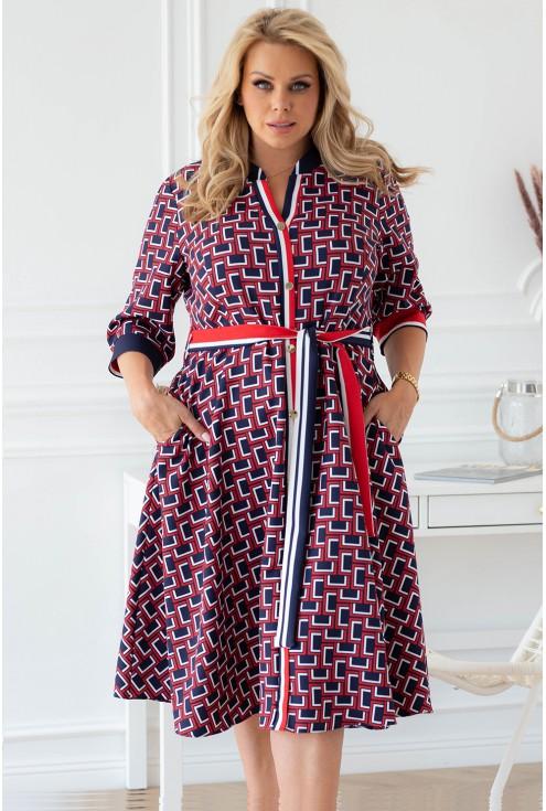 czerwono-granatowa sukienka polly xxl