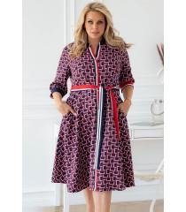 Czerwono-granatowa sukienka z drobnym wzorem - POLLY