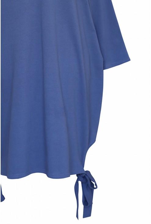 Sukienka oversize z wiązaniem po bokach VERSO -  jeansowy