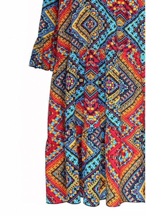 Sukienka boho z  wzorem i falbankami