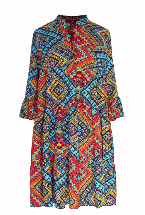 Sukienka boho z azteckim wzorem