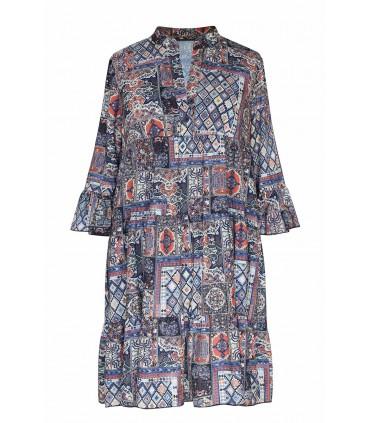 Sukienka boho z perskim wzorem i falbankami - SABINE