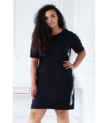 Czarna sukienka z ozdobnymi taśmami - ADRIENNE