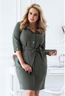 sukienka szmizjerka khaki kolekcja jesienna xxl
