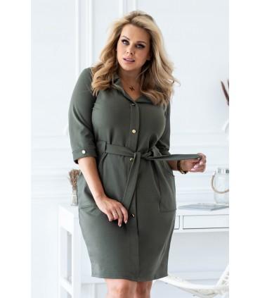 Sukienka szmizjerka w kolorze khaki - KYLIE