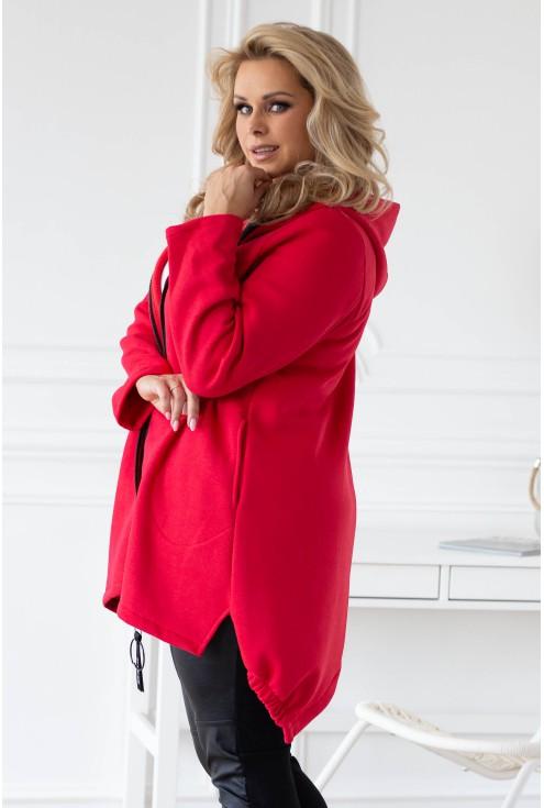 Czerwona asymetryczna bluza z kapturem - LUCETTE