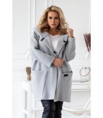 Jasnoszary płaszcz oversize z kapturem TIFFANY