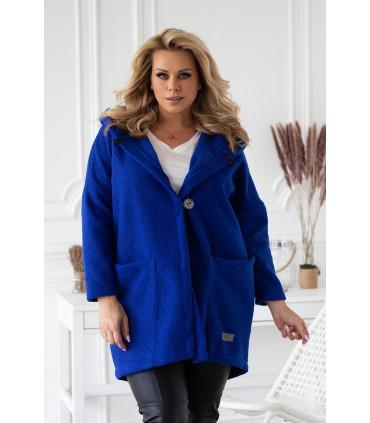 Chabrowy płaszcz oversize z kapturem TIFFANY