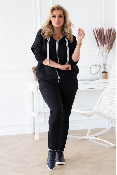 Czarny dres z rozpinaną bluzą  - zestaw - BLANCA