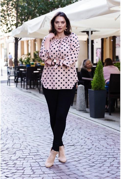 Pudrowa bluzka hiszpanka z wzorem w groszki - MARIBEL