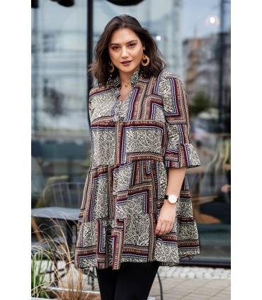 Sukienka boho z tureckim wzorem i falbankami - SABINE