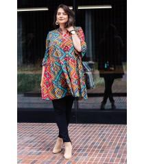 Sukienka boho z azteckim kolorowym wzorem i falbankami - SABINE