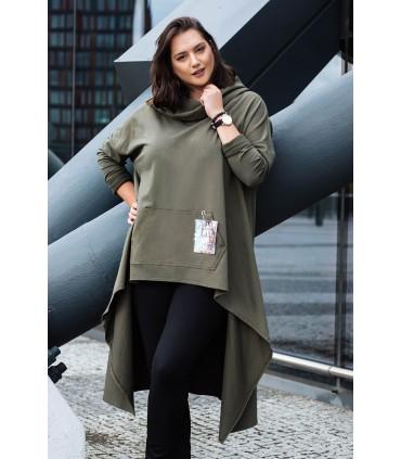 Długa bluza z kapturem w kolorze khaki - KORN