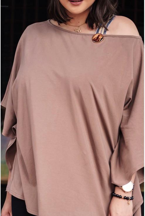 bluzka oversize w modnym karmelowym kolorze