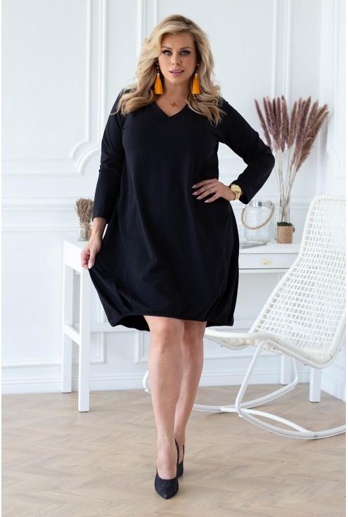 klasyczna dresowa czarna sukienka sklep xlka