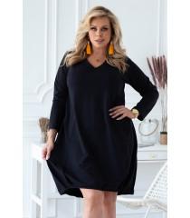 Czarna dresowa sukienka z dekoltem V - NATHALIE