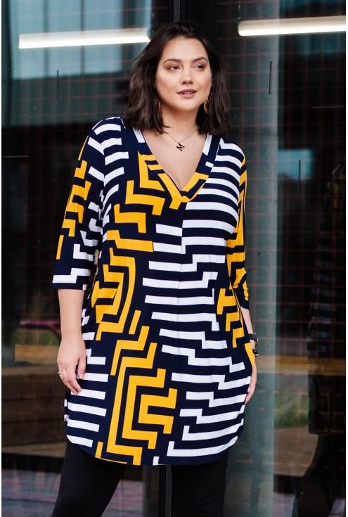 granatowa sukienka w geometryczny wzór xxl