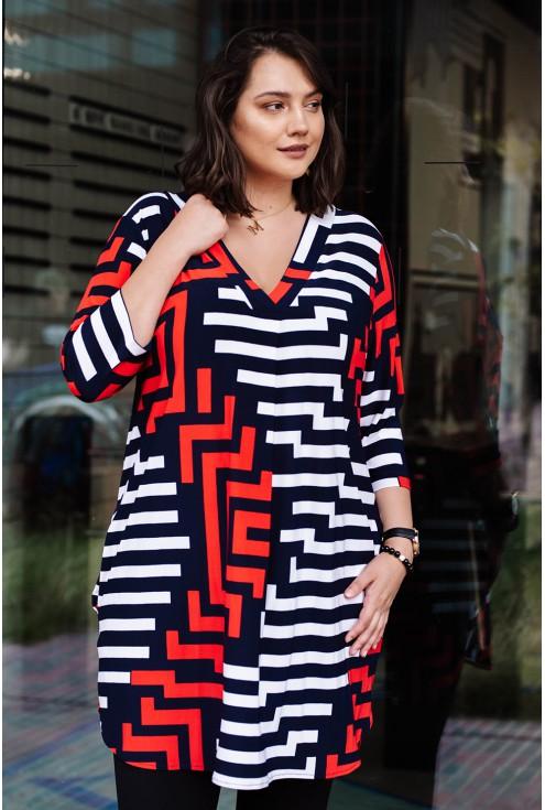 sukienka z czerwono-białym wzorem - duże rozmiary