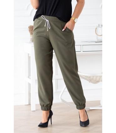 Eleganckie spodnie w kolorze khaki ze ściągaczami - VIVIANE