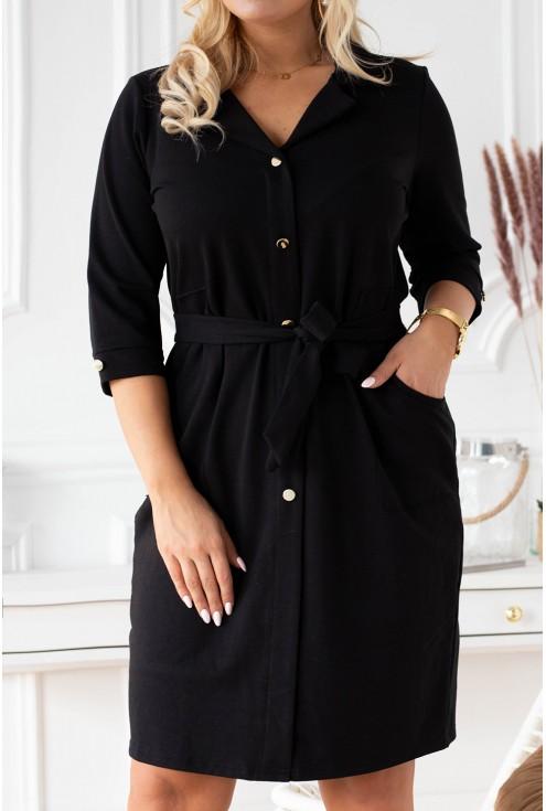 wygodna czarna sukienka szmizjerka xxl plus size