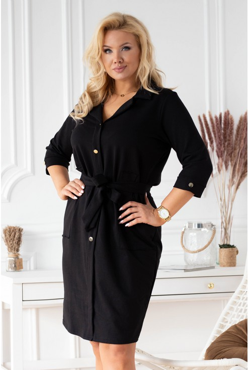 czarna sukienka szmizjerka plus size