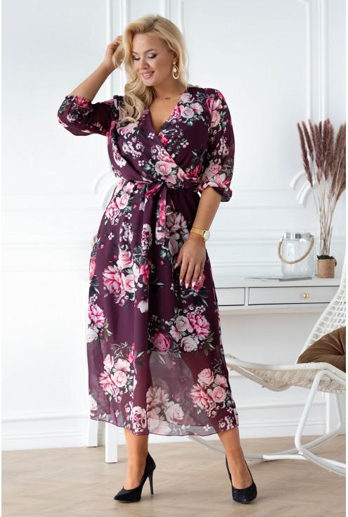 śliwkowa sukienka w kwiaty xxl