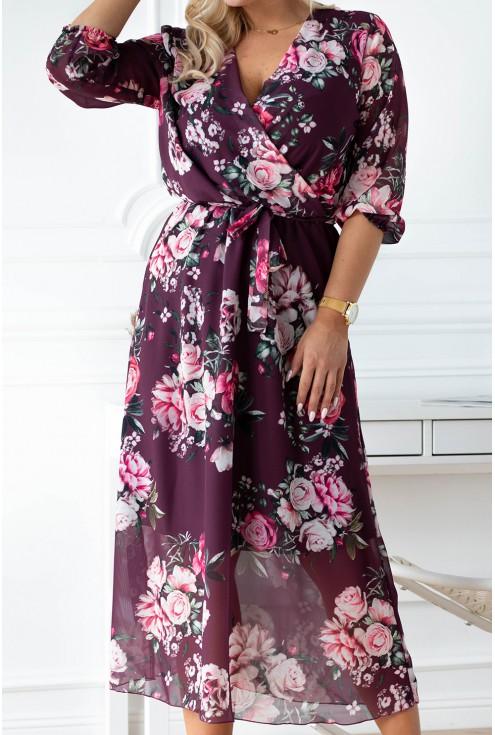 śliwkowa sukienka w kwiaty plus size