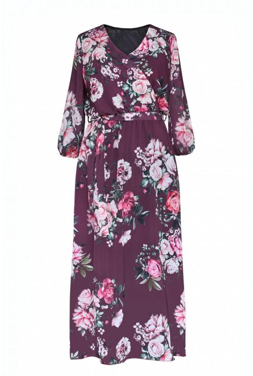 Śliwkowa sukienka maxi w kwiaty z kopertowym dekoltem - ADELA