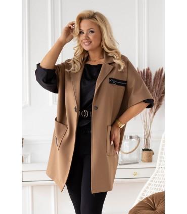 Brązowy płaszczyk plus size z krótkim rękawem - DELLA