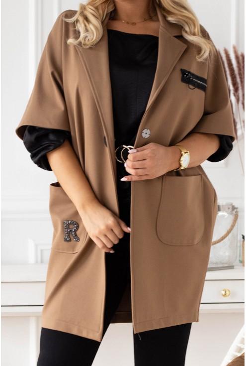 Brązowy elegancki dłuższy płaszcz