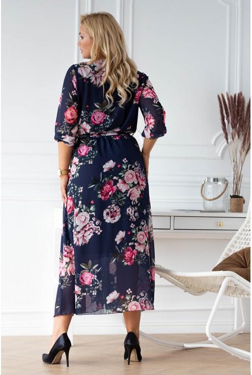 Granatowa sukienka maxi w kwiaty z kopertowym dekoltem - ADELA