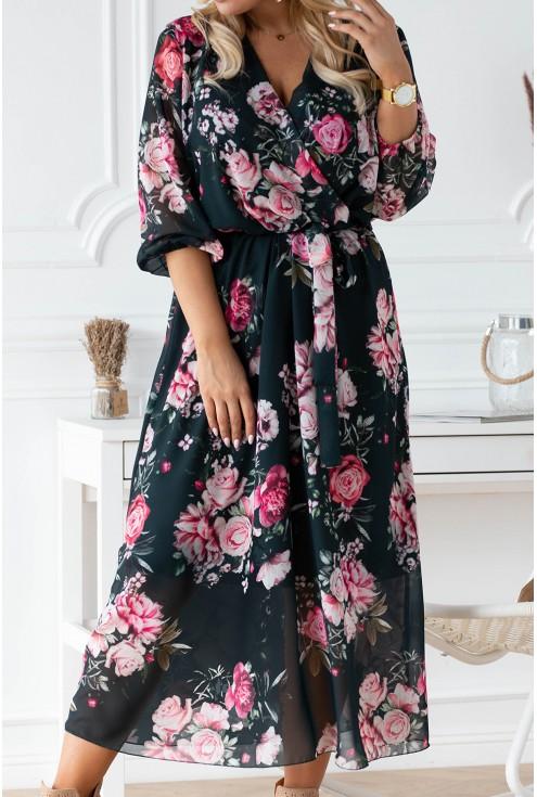 Ciemnozielona sukienka maxi w kwiaty z kopertowym dekoltem - ADELA