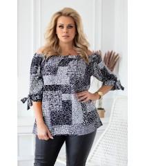 Bluzka hiszpanka z czarno-białym wzorem - NINA