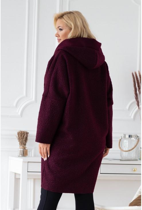 Śliwkowy jesienny płaszcz zapinany na suwak z kapturem - LINDY