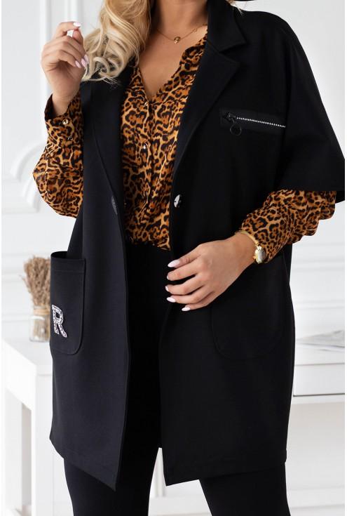 czarny płaszczyk plus size xxl