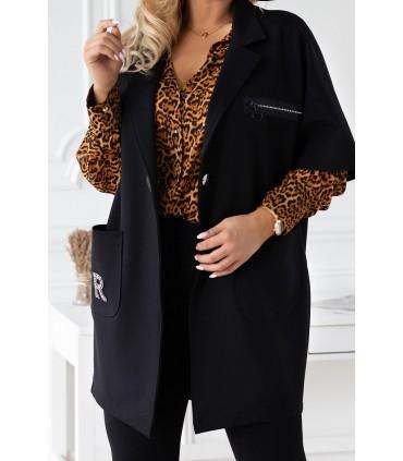 Czarny płaszczyk plus size z krótkim rękawem - DELLA